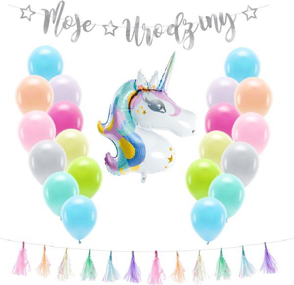 Zestaw dekoracji na urodziny balony Jednorożec 23el. zes-JED1