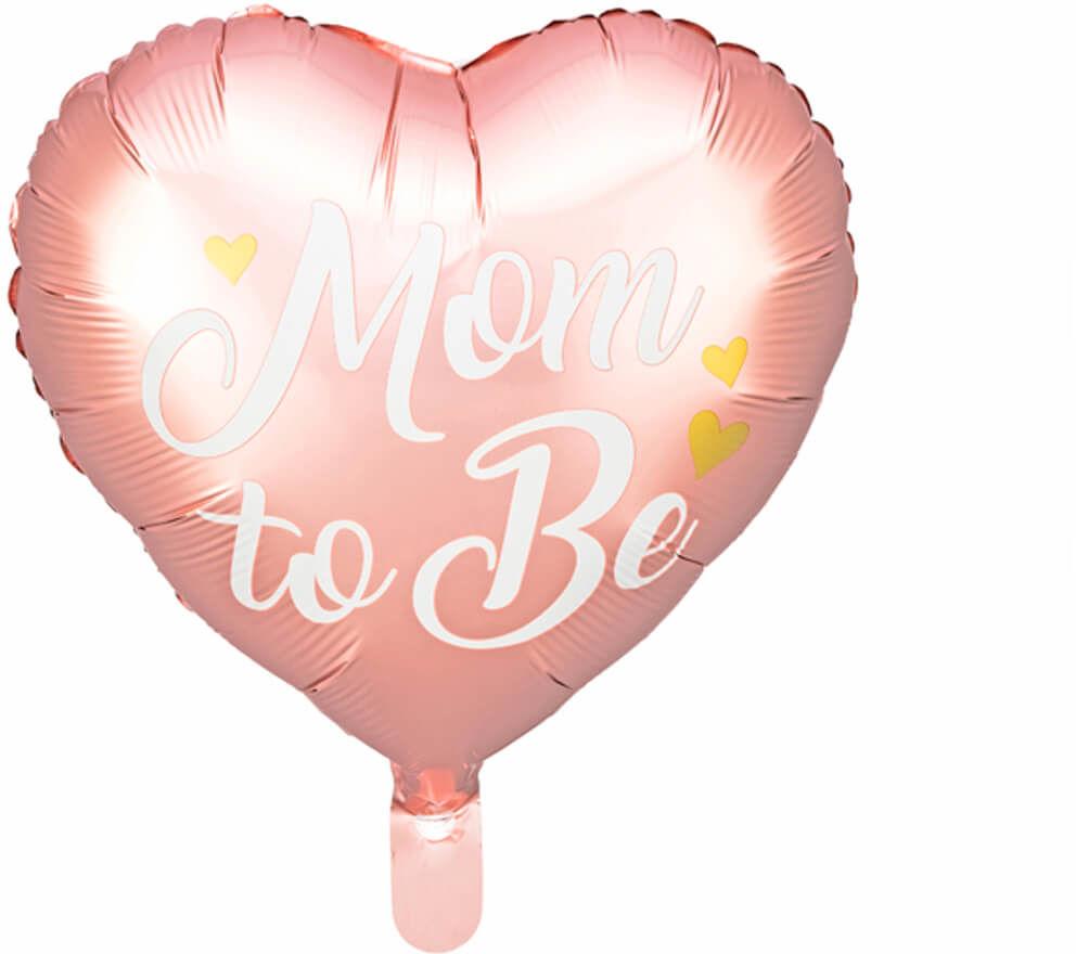 Balon foliowy Mom to Be na Baby Shower różowy - 35 cm - 1 szt.