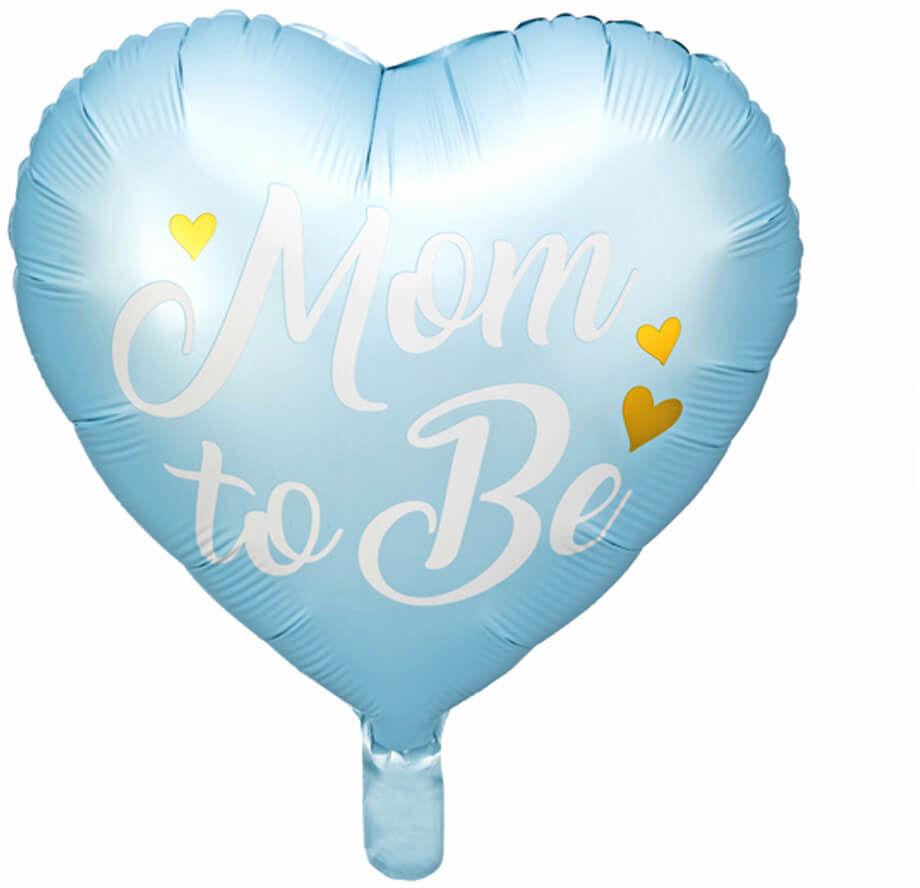 Balon foliowy Mom to Be na Baby Shower niebieski - 35 cm - 1 szt.
