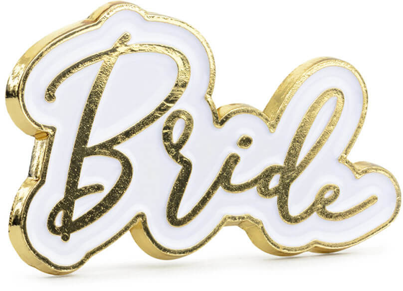 Przypinka z napisem Bride - 1 szt.