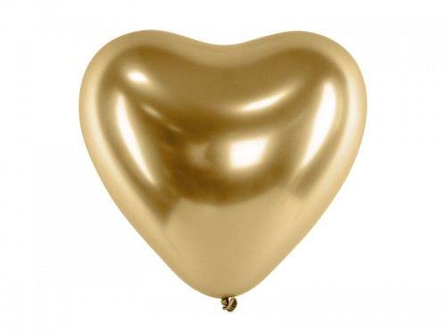 Balon Serce, Glossy chrom, złoty