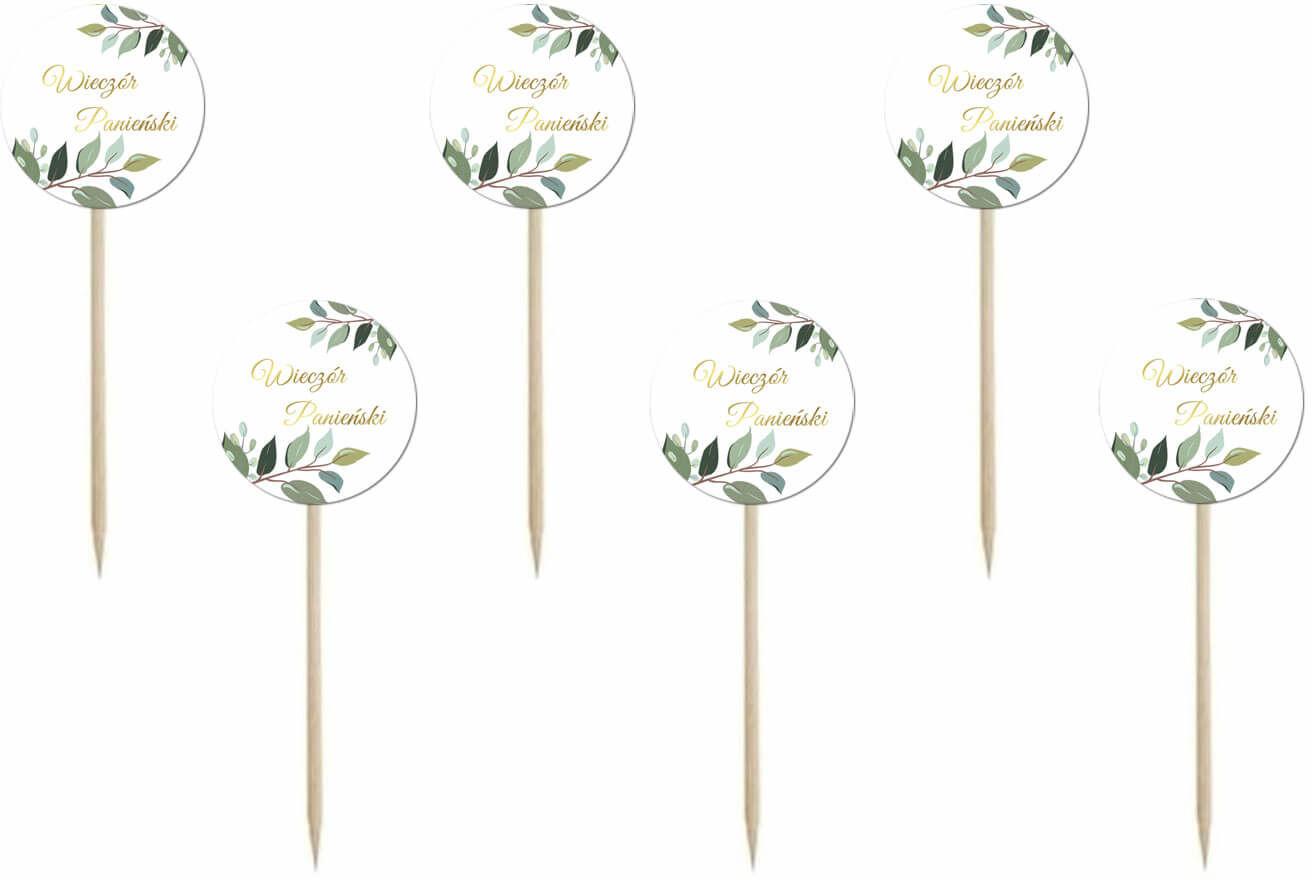 Pikery na wieczór panieński z zielonymi listkami białe - 7 cm - 6 szt.