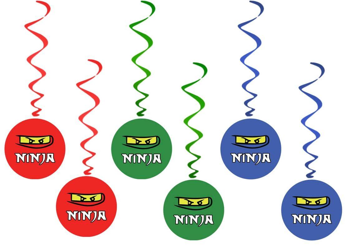 Dekoracja wisząca urodzinowa Ninja - 6 szt.