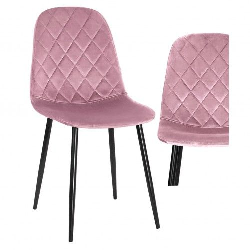 Krzesło tapicerowane do jadalni w kolorze różowym DC-1916 welur #44