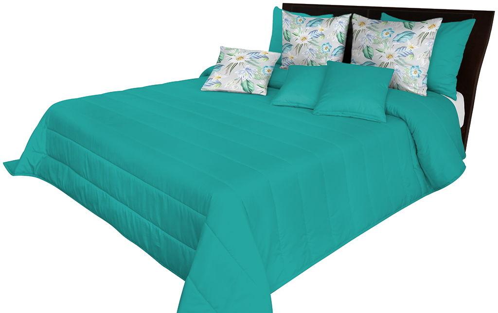 Narzuta pikowana na łóżko turkusowa NMN-012 Mariall