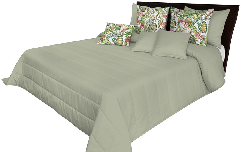 Narzuta pikowana na łóżko szarooliwkowa NMN-016 Mariall