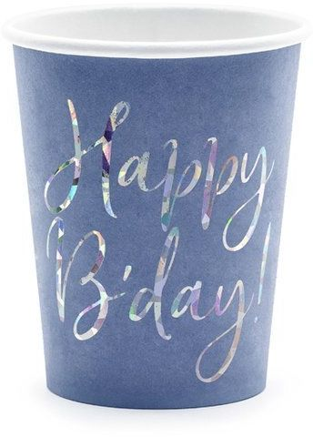 Kubeczki urodzinowe Happy B''day! granatowe 220ml 6 sztuk KPP63-074