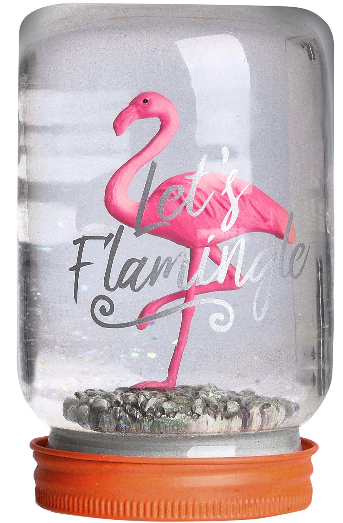 Pusher Jar Snowglobe kula śnieżna-natale-flamingo, różowa, 8 x 8,5 x 13,5 cm