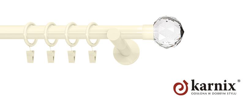 Karnisze nowoczesne NEO pojedynczy 19mm Beluna Crystal ivory (kość słoniowa)