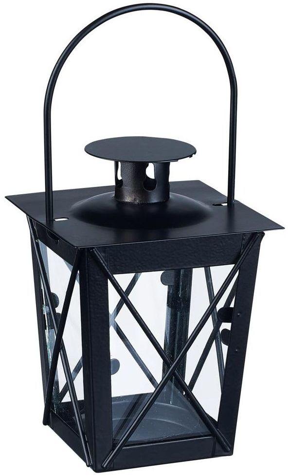 Latarenka metalowa na świeczkę 9 x 17 cm czarna