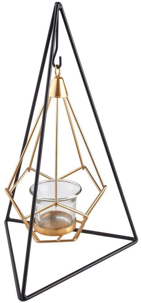 Lampion na świeczkę Pyramid 6 x 12 cm czarno-złoty