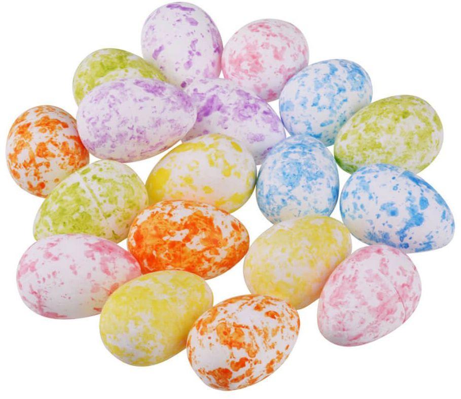 Jajka styropianowe nakrapiane mix kolorów - 3,5 cm - 18 szt.