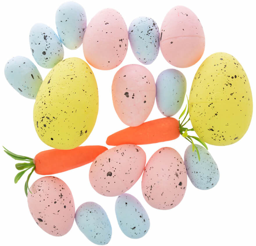 Jajka styropianowe nakrapiane i marchewki - 18 szt.