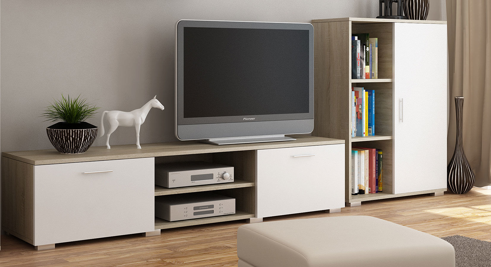 Szafka RTV Pixelo - biała + dąb sonoma
