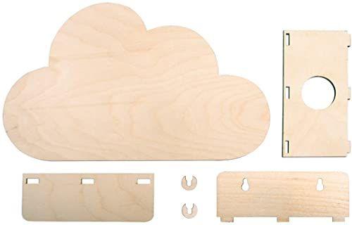 Rayher 62987505 drewniany zestaw do montażu lampa mała chmura, drewno z certyfikatem FSC, naturalny, 31 x 18,5 x 7,5 cm, zestaw 6-częściowy, lampa dziecięca