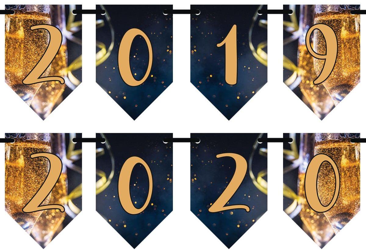 Girlanda baner flagi 2020-2021 na Sylwestra - 3 m
