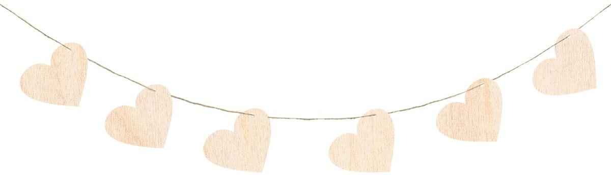 Zawieszka girlanda drewniana serca na walentynki - 6 cm - 10 szt.