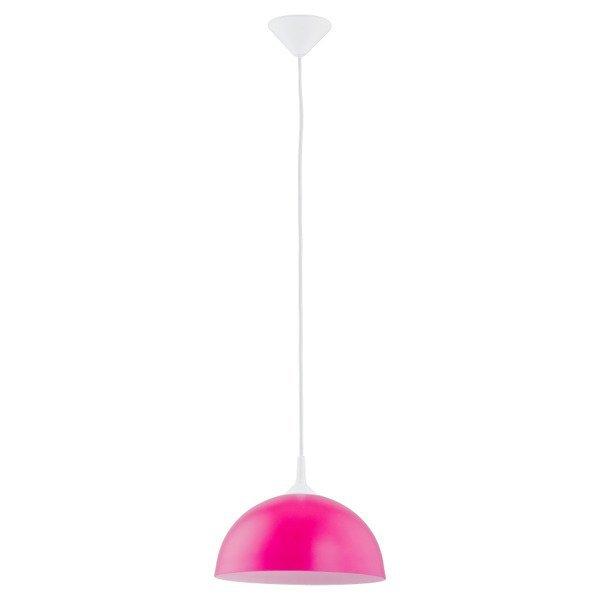 Lampa wisząca zwis szklana tuba ALBERT różowa śr. 30cm
