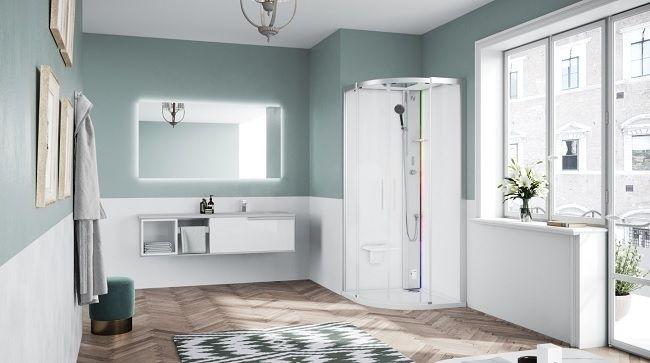 Novellini Glax 1 2.0 kabina z sauną parową 90x90 srebrna G21R90T5-1BB