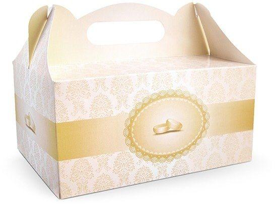 Pudełka na ciasto weselne Obrączki 10 sztuk PUDCS12-10x