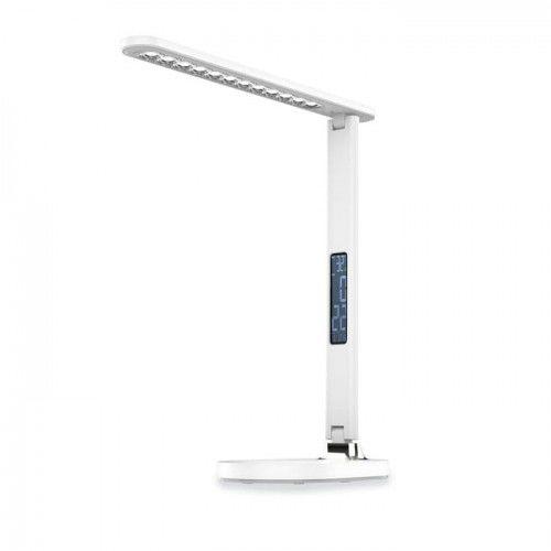 Lampka biurkowa LED 13W z zegarem, budzikiem i termometrem - biała