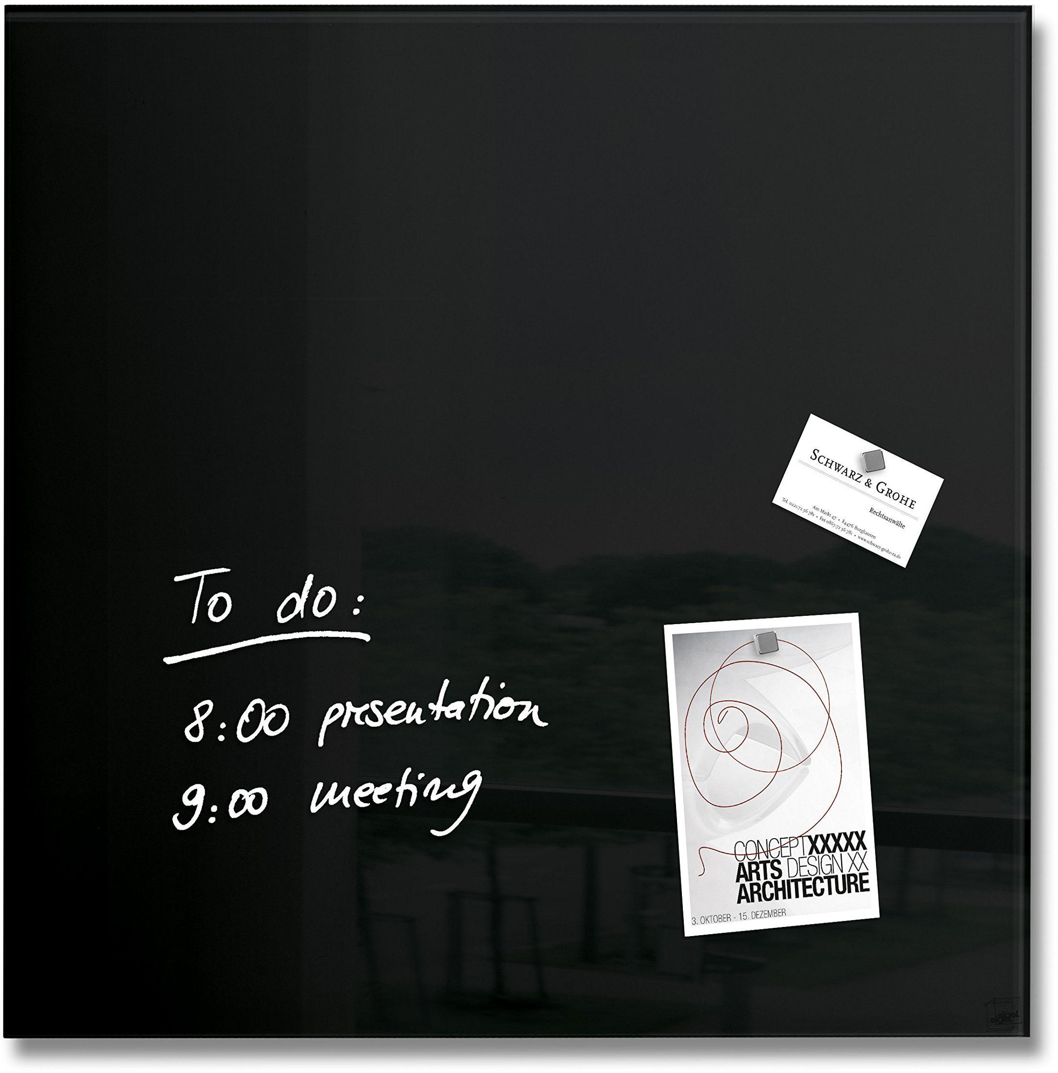 Sigel 480 x 480 mm magnetyczna szklana tablica Artverum - czarna