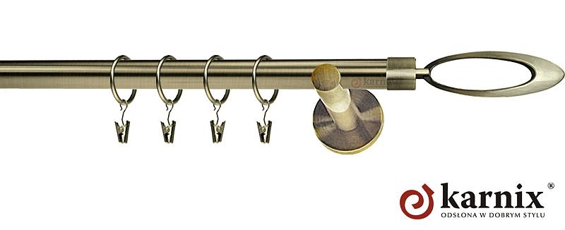Karnisze nowoczesne NEO pojedynczy 19mm Mirella antyk mosiądz