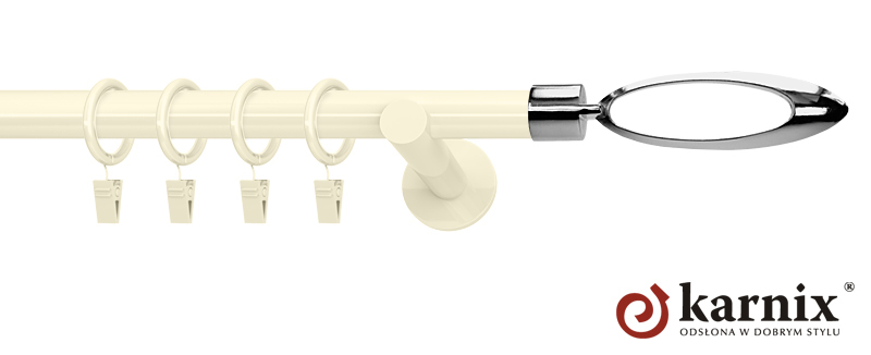 Karnisze nowoczesne NEO pojedynczy 19mm Mirella ivory (kość słoniowa)
