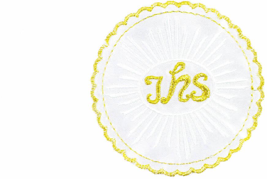 Emblemat haftowany na I Komunię Świętą IHS złoto-biały - 1 szt.
