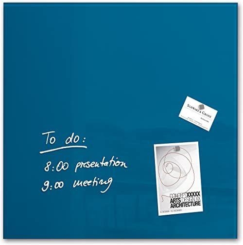 SIGEL GL252 magnetyczna szklana tablica / tablica magnetyczna, 48 x 48 cm, benzynowa niebieska - Artverum