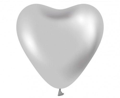 "Balony Platynowe srebrne serca, 12"", 6 szt."