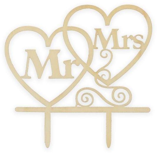Drewniany topper na tort Mr Mrs 13cm 1 sztuka RV-DTMM
