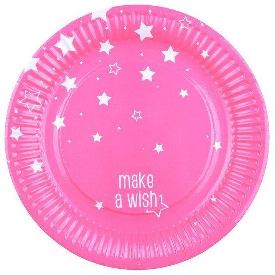 Talerzyki papierowe gwiazdki Make a wish różowe 18cm 8 sztuk DC9509