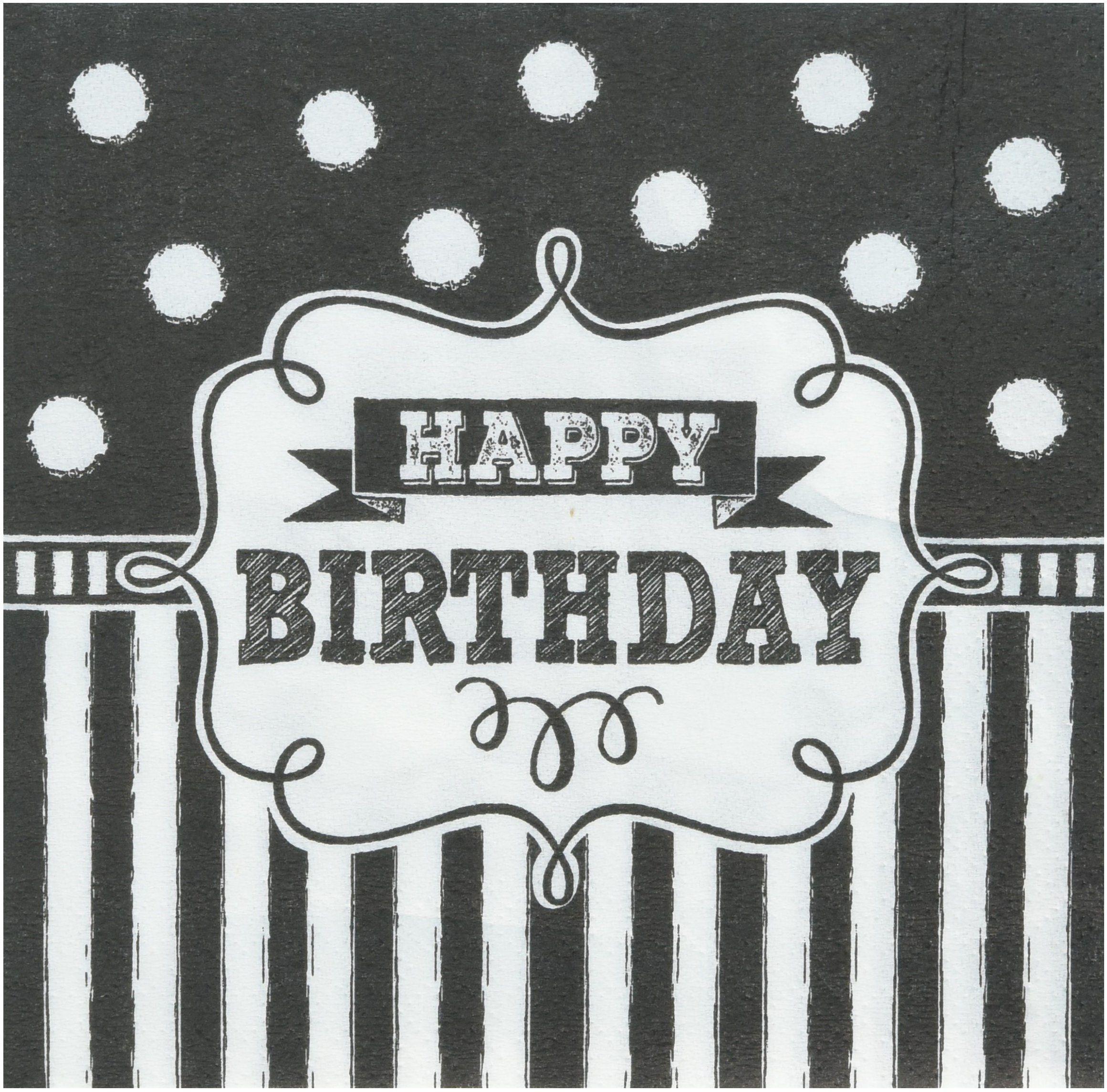 Urodzinowe serwetki do napojów czarno-biała tablica kredowa - 25 cm - 16 szt.