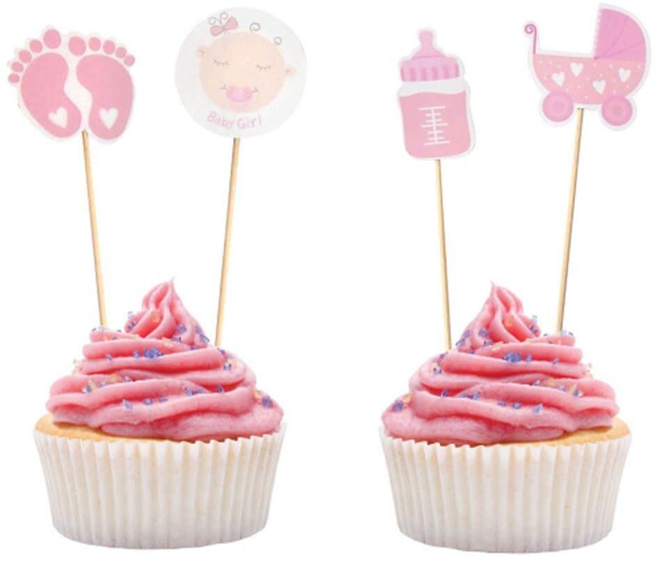 Pikery na baby shower różowe - 10 cm - 12 szt.