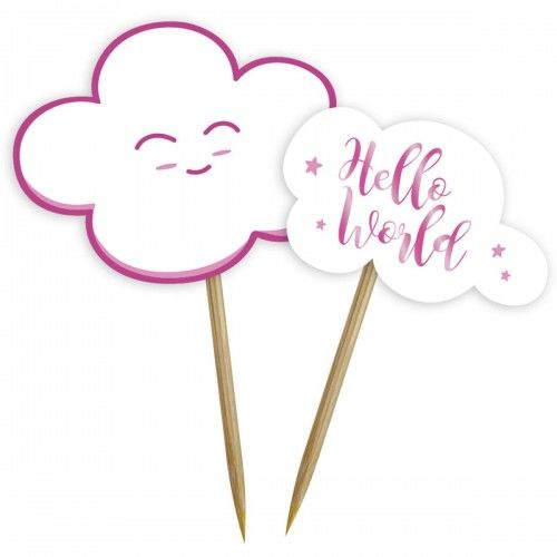 Toppery na Baby Shower Hello World, różowe 24 szt.