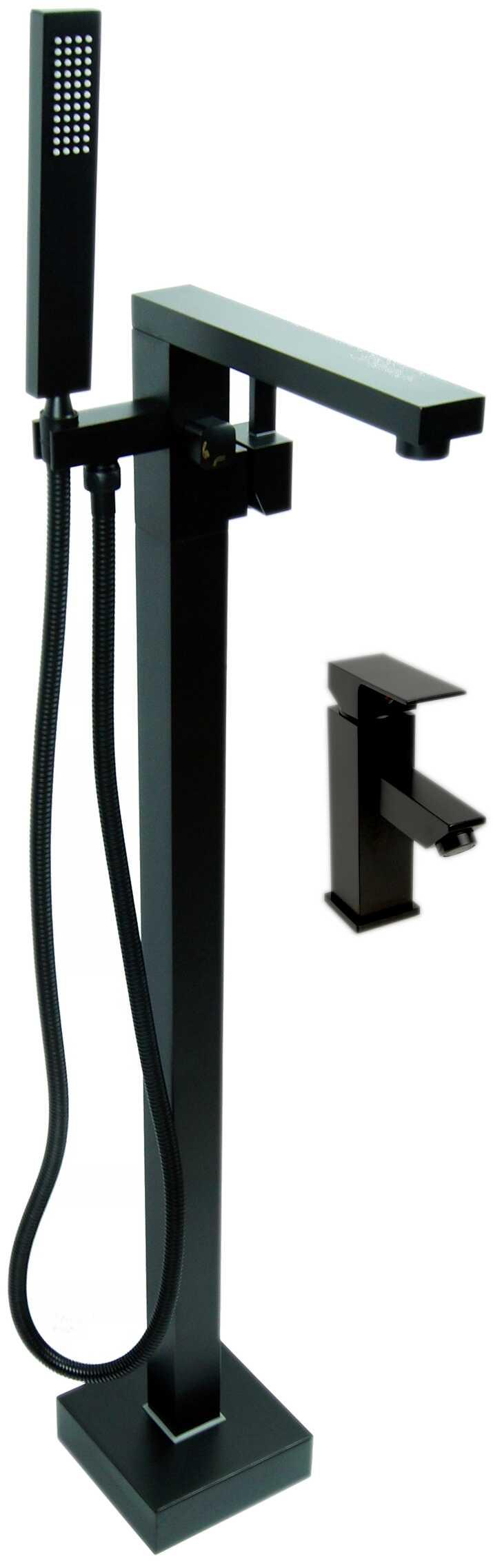 Zestaw Bateria wannowa wolnostojąca LEMOR + Bateria umywalkowa QATRO - BLACK