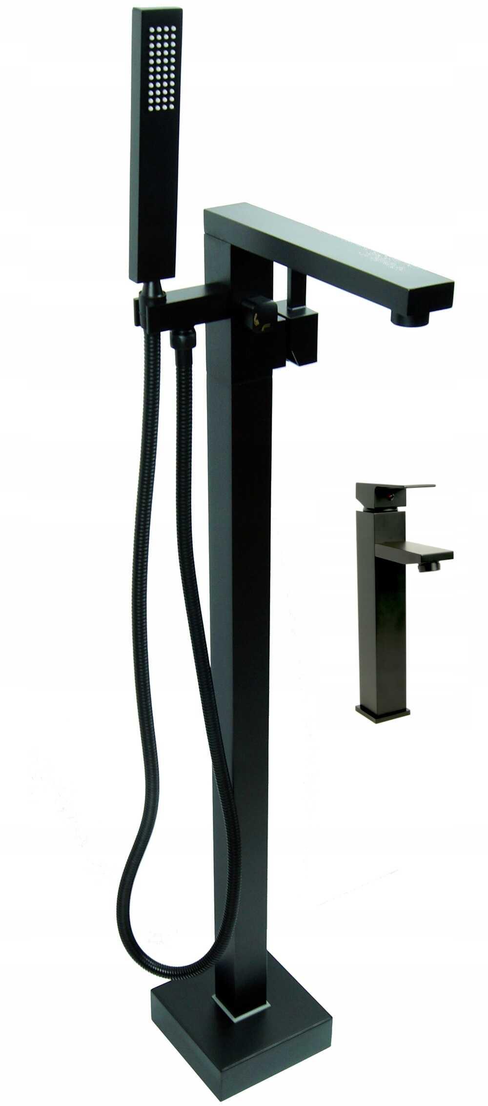 Zestaw Bateria wannowa wolnostojąca LEMOR + Bateria umywalkowa nablatowa QATRO - BLACK