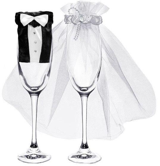 Ubranka na kieliszki szampana Młoda Para welon frak 2 sztuki UK