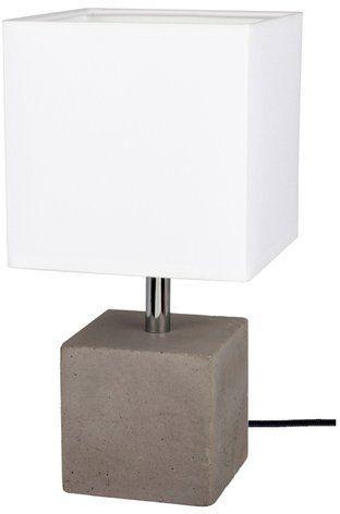 Lampa stołowa STRONG 1-punktowa lampa o betonowej szarej podstawie z abażurem z białego materiału 6191936