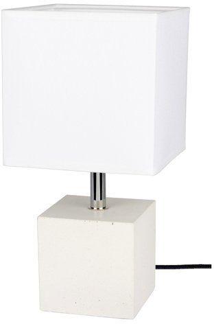 Lampa stołowa STRONG 1-punktowa lampa o betonowej białej podstawie z abażurem z białego materiału 6191937