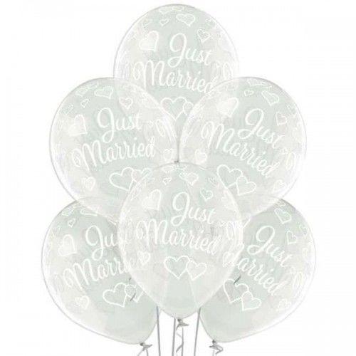 Balon na ślub Just Married, transparentny