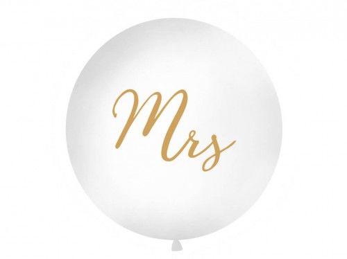 Balon ślubny Kula ze złotym napisem Mrs, 1 m