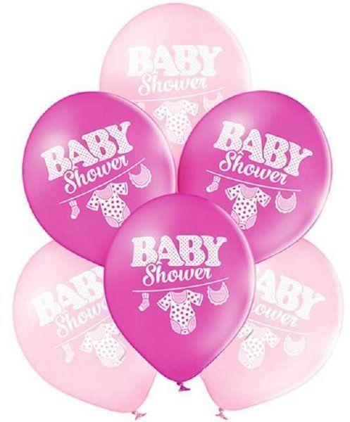 Balony Baby Shower różowe 25cm 6szt 6000056