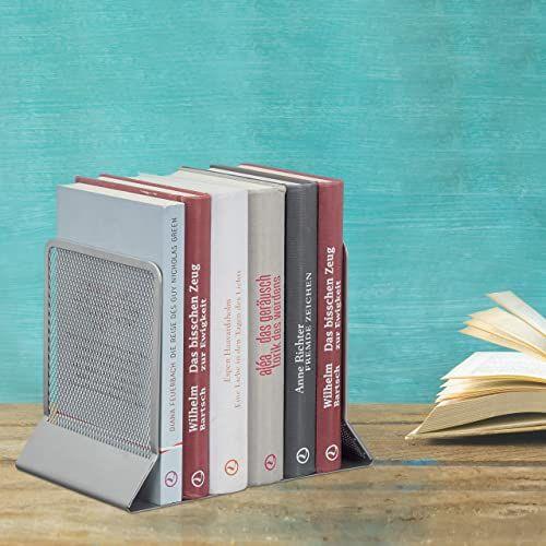 Relaxdays, srebrna podpórka do książek, 2-częściowy zestaw, książki, DVD, czasopisma, stabilny kąt książki wys. x szer. x gł.: ok. 16,5 x 13 x 10,5 cm, standard