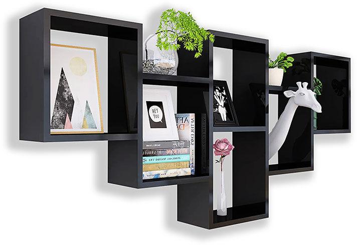 Czarna nowoczesna półka wisząca - Amela