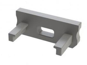 Zaślepka 1 sztuka do profilu LED nawierzchniowego typ D szara z otworem