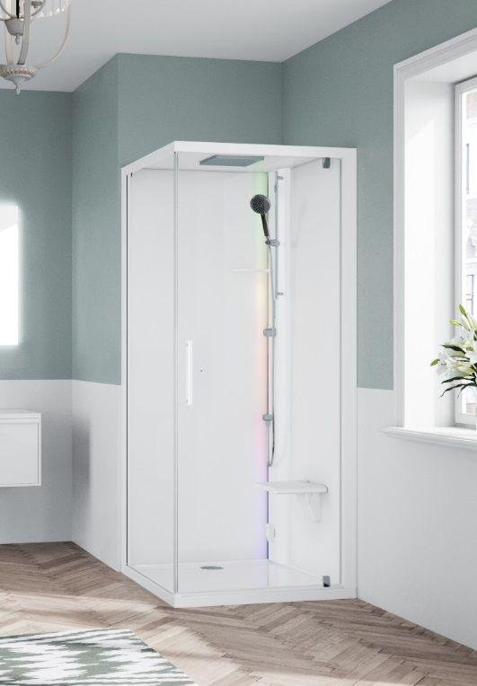 Novellini Glax 1 2.0 kabina z sauną parową 90x90 prawa biała G21GF90DT5-1UU