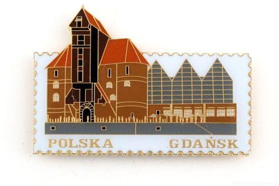 Magnes znaczek Gdańsk. żuraw