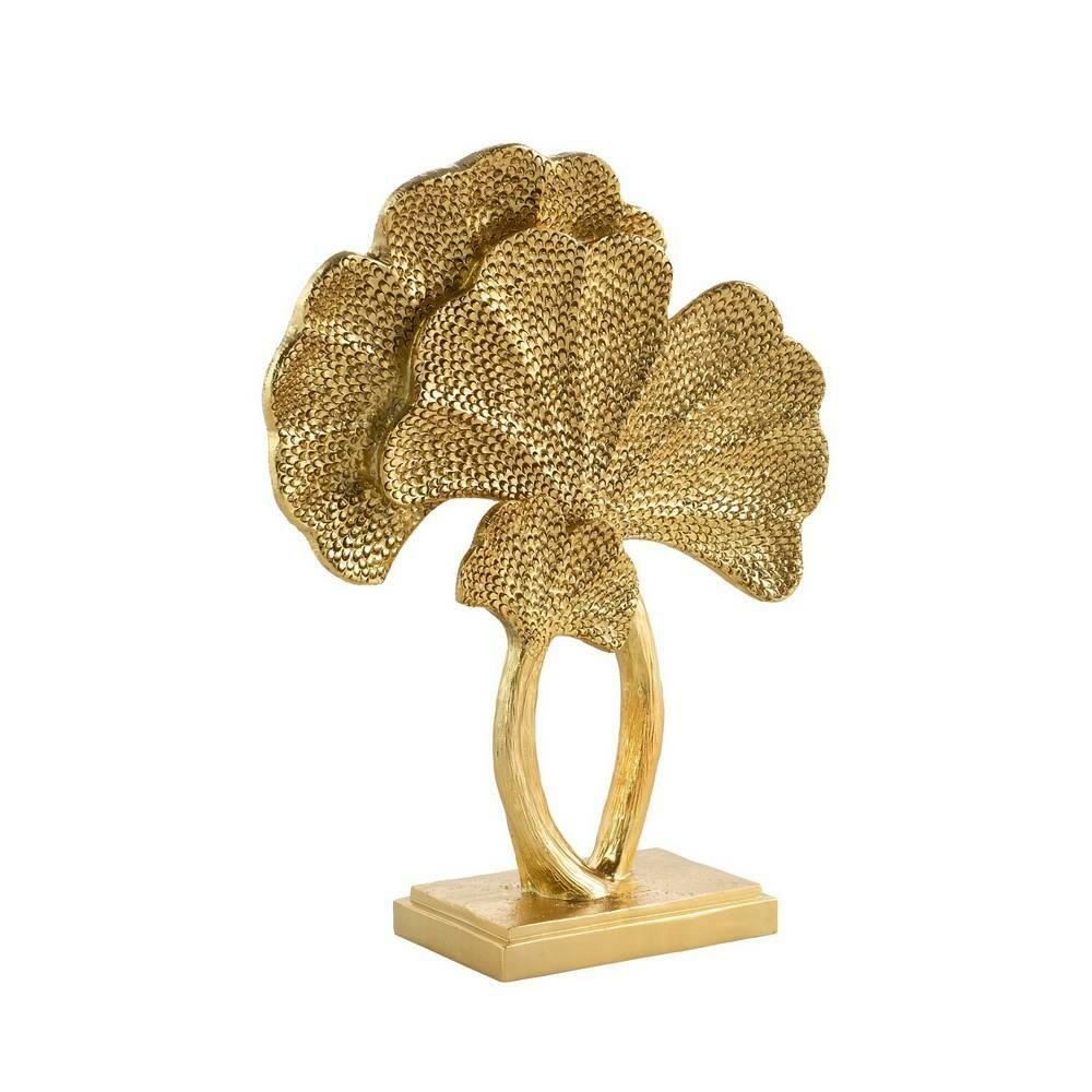 Figurka ceramiczna Tobi 25x12x33 złota liście miłorzębu dekoracyjna Eurofirany